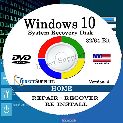 Windows 10 - 32/64 Bit DVD SP1, Supports HOME Edition. Recover, Repair, Restore or Re-install Windows to Factory Fresh!