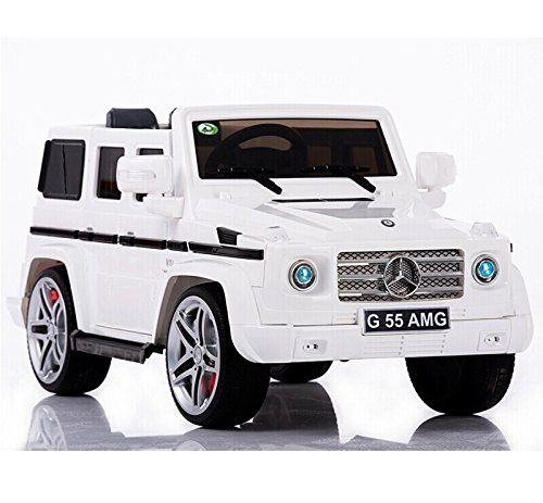 new 2015 model 12v ride on car mercedes g55 high doors licensed toy for kids boys and girls with music lights leather seat rubber tires white