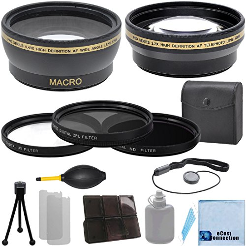 Pro Series 58Mm 0.43X Wide Angle Lens + 2.2X Telephoto Lens + 3 Pieces Filter Sets With Deluxe Lens Accessories Kit For Canon T1I T2I T3 T3I T4I T5 T5I Sl1 10D 20D 30D 40D 70D 5D 5Dii 5Diii 6D 1D 50D 60D 7D Dslr Camera