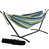 Prime Garden 9 FT. Double Hammock with Space Saving Steel Hammock Stand. Elegant Tropical Stripe