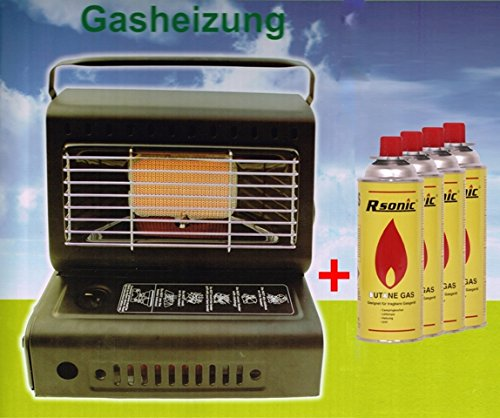 Heizstrahler Gasheizung 1,3KW Gasstrahler keramik Heizgerät Heizung + 4x Gaskartuschen