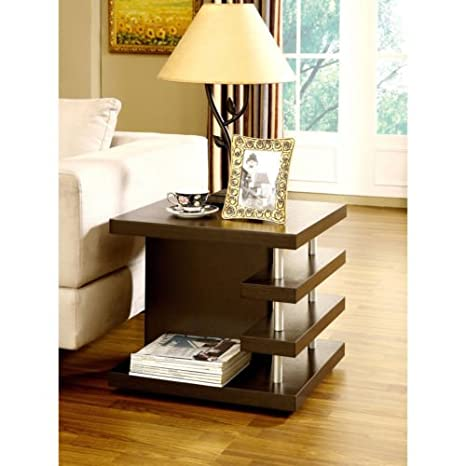 Architectural Inspired Dark Espresso End Table. Very good quality. Perfect for modern style living room. Matches perfectly with the coffee table.
