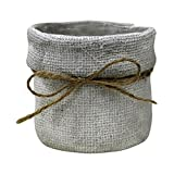 Rustic Cement Round Planter Pot with Burlap Look and Twine Bow, 5 Inch