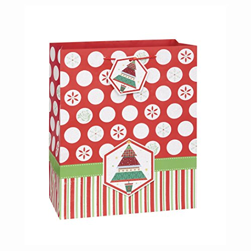 Holiday Tree & Dots Christmas Gift Bag