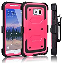 buy Galaxy S6 Case, Tekcoo(Tm) [Tshell Series] [Rose] Shock Absorbing [Kickstand] Holster Locking Belt Clip Defender Heavy Duty Combo Case Cover Shell For Samsung Galaxy S6 S Vi G9200 All Carriers