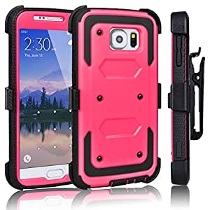 Galaxy S6 Case, Tekcoo(TM) [TShell Series] [Rose] Shock Absorbing [Kickstand] Holster Locking Belt Clip Defender Heavy Duty Combo Case Cover Shell For Samsung Galaxy S6 S VI G9200 All Carriers