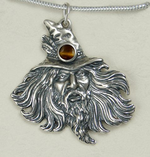 Sterling Silver Wizard by Fantasy Artist Julie Guthrie Accented with Genuine Tiger Eye...Amazing Detail!