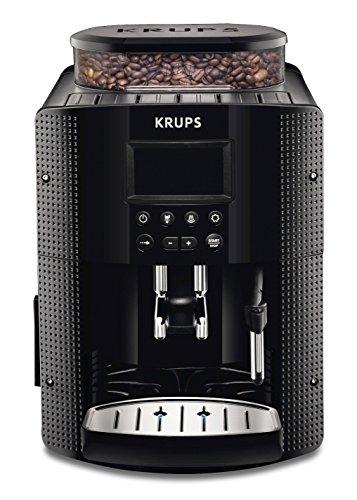 Krups EA8150 - Cafetera automática, 15 bares de presión, pantalla LCD, 3 niveles de intensidad de café, cantidad ajustable de 20 ml a 220 ml, programa automático de limpieza y descalcificación, molinillo integrado