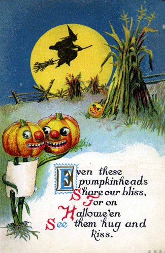 "Vintage Halloween Poster Made From Circa 1910 Postcard Pumkin Embrace Series 393 18""x24"""