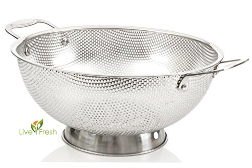 LiveFresh Stainless Steel Micro-perforated 5-Quart Colander - Professional Strainer with Heavy Duty Handles and Self-draining Solid Ring Base - SAVE 50+% (Stainless Steel Noodle Strainer compare prices)