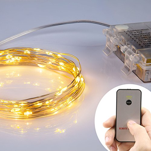 Homestarry HS-B-SL-001 Battery Operated Micro LED String Lights - 16 Feet - Warm White with ...