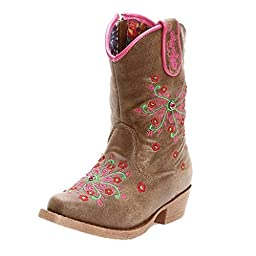 Blazin Roxx Baby Girls\' Savvy Embroidered Zipper Cowgirl Boot Snip Toe Brown US