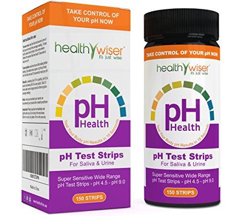 healthywiser PH-Teststreifen, genaue Ergebnisse in 15Sekunden + Alkaline Food Diagramm PDF + 21Alkaline Rezepte eBook-150ct pro Barrel