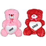 Big Deal India 2Feet Big Teddy Combo With Love Heart Stuffed Soft Plush Toy Kids Birthday Teddy Bear (Pink And...