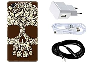 Spygen MICROMAX Q372 Unite Case Combo of Premium Quality Designer Printed 3D Lightweight Slim Matte Finish Hard Case Back Cover + Charger Adapter + High Speed Data Cable + Premium Quality Aux