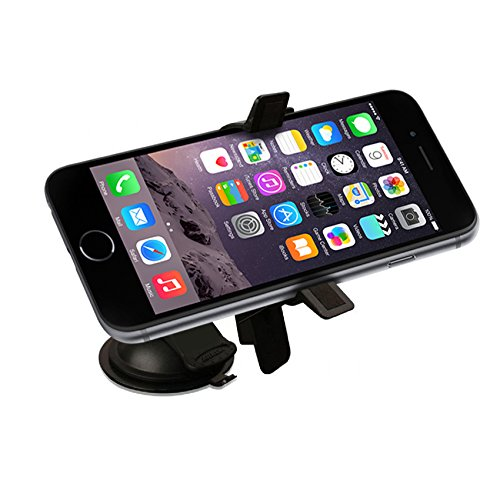 First Rate Car Windshield or Dashboard Adjustable Swivel Suction Mount for iphone 4, 5, 5C, 5S, 6, / Samsung S3, S4, S5 / HTC One M8 and Other Smartphones with Displays up to 5″ w/ Low Profile Car Kit Holder – Updated Version