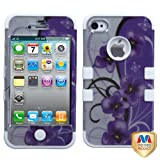 Product B00C3JBLI6 - Product title MYBAT IP4HPCTUFF2DIM021NP Premium TUFF Case for iPhone 4 - 1 Pack - Retail Packaging - Twilight Petunias (2D Silver)/Solid White
