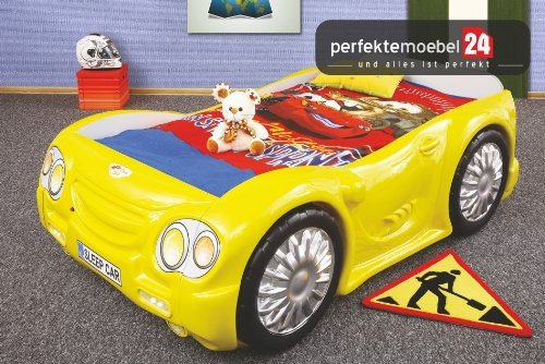 SLEEP CAR Bett Autobett Kinderbett Spielbett inkl. Lattenrost und Matratze kurze Lieferzeit! (gelb)