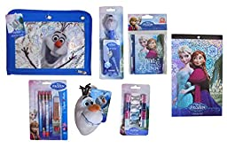 Disney\'s Frozen Ultimate Back To School Set: Pencil Pouch, Pop Pen, Plush Keychain, Stickers, and More