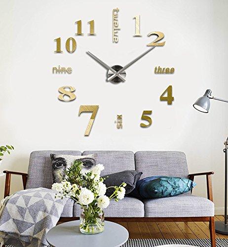 Moderno fai da te grande parete 3D Sticker orologio per Arredo Casa Ufficio Dorato