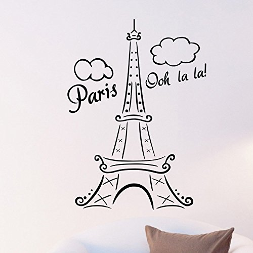 """Colorfulhall 34.25"""" X 26.37"""" Tall Eiffel Tower Wall Decal Huge Paris City Sticker Decor Wall Sayings Decal Vinyl Wall Art Words Lettering Quotes Mural Art Room Home (B) front-757561"""