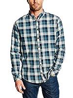 Blend Camisa Hombre (Turquesa / Blanco)