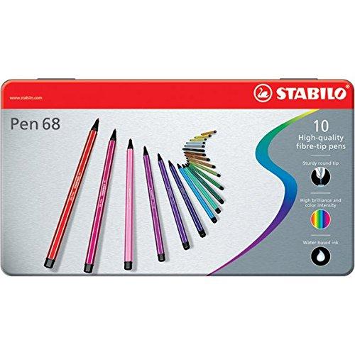 Sólo hoy: Caja de metal con 10 rotuladores Stabilo Pen 68