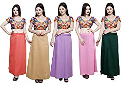 Pistaa combo of Women's Soft Cotton Peach, Skin, Levender, Pastle Pink and Dark Green Color Best Readymade Inskirt Saree petticoats