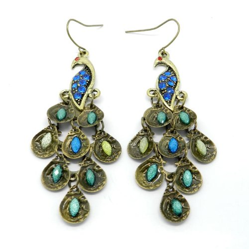 Peacock Blue Green Crystal Beads Drop Fashion Earrings