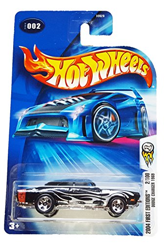 Hot Wheels 2004-002 First Editions 1969 Dodge Charger BLACK w/Flames 1:64 Scale - 1