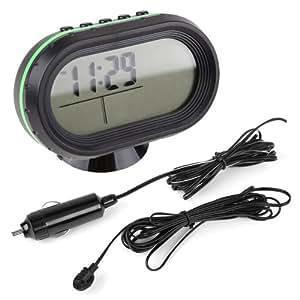 LCD Auto Digital Innen Außen Thermometer Spannungstester Voltmeter Spannungsmesser KFZ PKW Datum Uhr Alarm #571
