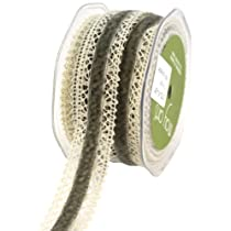 May Arts 1-1/2-Inch Wide Ribbon Ivory Crochet with Gray Velvet