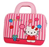 Hello Kitty Themed Prestigio MultiPad 10.1 Ultimate / 3G Tablet Sleeve with Handles with Balloons Pattern (Neoprene Exterior, Velcro Handles, Dual Zippers)