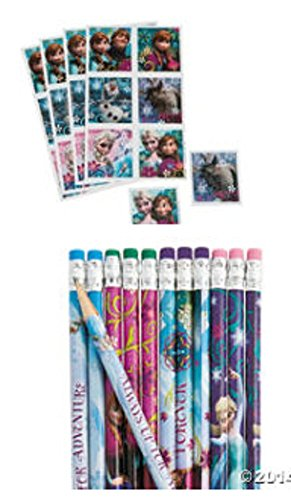 Disney's Frozen Sticker Sheets and Pencil Set (24 Stickers and 12 Pencils) Party Supplies/party Favors - 1