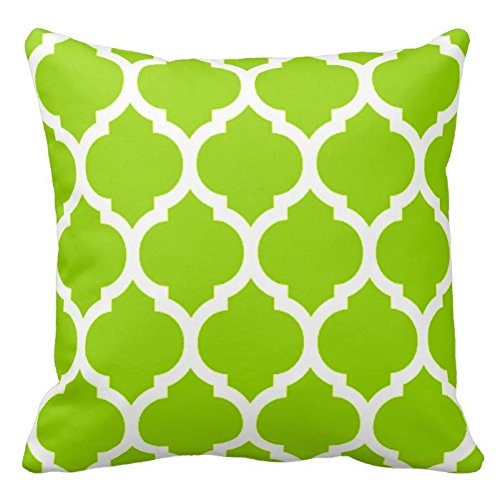Lime Green and White Decorative Cushion Covers Throw Pillow Case Moroccan Quatrefoil Pattern Print Square Two Sides 18X18 Inch