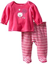 ABSORBA Baby-Girls Newborn Velour Footed Pant, Pink, 0-3 Months