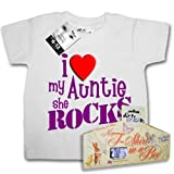 Dirty Fingers T-shirt in a box - I love my Auntie....she Rocks x - White, 18-24 months