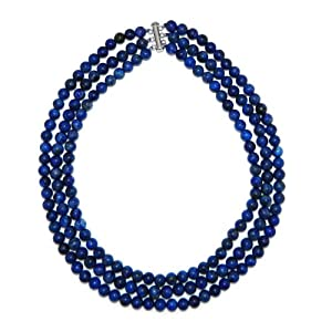 Pearlz Ocean Sterling Silver Lapis 3-row Necklace (Opn-3935)