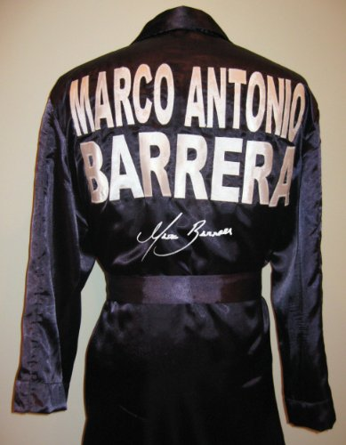 Marco Antonio Barrera Black Robe - Autographed Boxing Robes and Trunks
