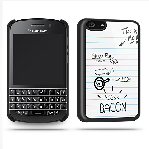 Eggs Bacon Fitness Quirky Funny Phone Case Shell For Blackberry Q10 - Black
