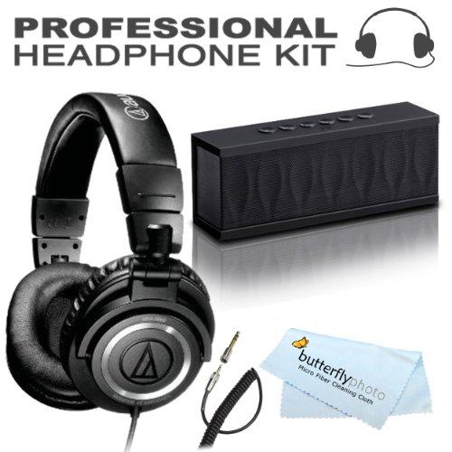 Audio-Technica Ath-M50 Professional Studio Monitor Headphones + Bonus Photive Cyren Portable Wireless Bluetooth Speaker With Built In Speakerphone