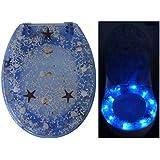 Toilettendeckel - WC Brille Seesterne mit 10 LED in Blau