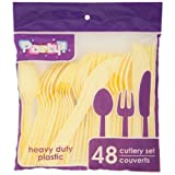YELLOW Plastic Utensils, 48-ct. Packs (16 Forks, 16 Spoons & 16 Knives) (Yellow, Plastic Utensils 48 Ct. Packs)