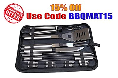 BBQ Mate - Barbecue Set 16pc - Generation II - Best Stainless Steel Materials - Canvas Bag - This Kit Fits Nicely with Your Grill