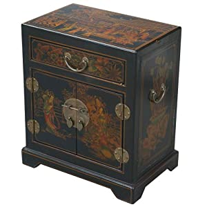 EXP Handmade  Furniture 20-Inch Antique Style Black Leather End Table/Accent Table,Tang Dynasty