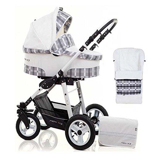 2 in 1 Kinderwagen Neo X3 - Kinderwagen + Sportwagen + Fußsack + GRATIS ZUBEHÖR in Farbe Weiß-Kariert