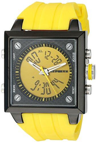 CEPHEUS - CP900-690B - Montre Homme - Quartz Analogique et Digitale - Bracelet Silicone Jaune