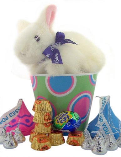 Candy Lovers Easter Gift 7&#8243; &#8220;Clucking&#8221; Cadbury Bunny Plush Toy in Bucket with Pink and Blue Hershey Kisses Keepsake Containers and Assorted Candy
