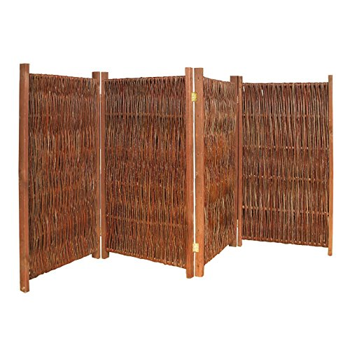weiden paravent raumteiler 4 teilig 240x140 lxh aus holz. Black Bedroom Furniture Sets. Home Design Ideas