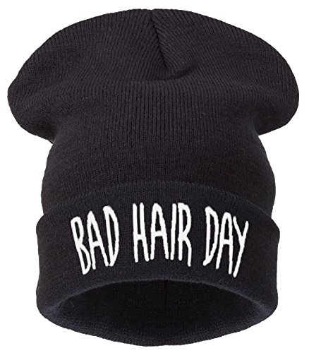 4sold -  Berretto in maglia  - Donna Nero  Schwarz - ---bad hair day black